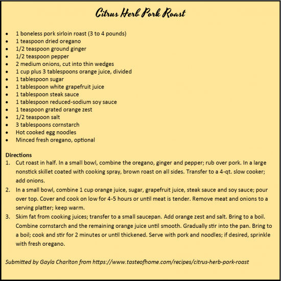 Citrus Herb Pork Roast