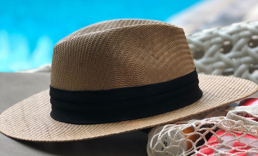 hat by pool